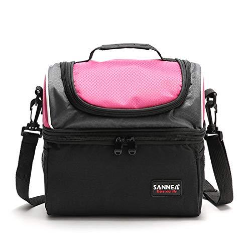 LHY TRAVEL Sacs à Lunch Isotherme étudiant Sacs à Lunch Double Vert pour Enfants Sacs à Lunch Portables,Pink