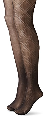 Betsey Johnson Women's Fashion Tights In Double Diamond Pattern and Solid Black, Black/Black, Small (Pack of 2) (2 Pack Solid Tights)