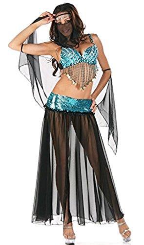 Bauchtänzerin Kostüme Frauen Für (Damen Arabische Nacht Bauchtänzerin Harem Kostüm/Lingerie Türkis Schwarz und Silber Größe)
