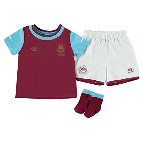 Lurex-karo-shirt (Umbro Kinder Baby West Ham United Home Mini Kit Trikot Set Heim 3 Teile 2015 2016 Claret/bluefish 18-24 Monate)