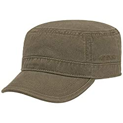 Stetson Gosper Army Cap Damen/Herren - Urban Armycap aus Baumwolle - Militärcap mit UV-Schutz 40 - Mütze Militär Sommer/Winter Oliv L (58-59 cm)