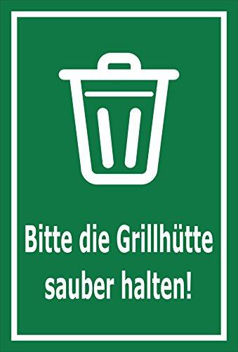 Schild - Bitte die Grillhütte sauber halten – 30x20cm | stabile 3mm starke Aluminiumverbundplatte – S00359-020-E +++ in 20 Varianten erhältlich