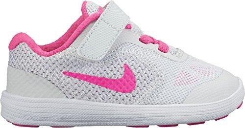 Nike Revolution 3 (TDV), Chaussures Premiers Pas pour Bébé Fille, Pure Platinum/Pink Blast