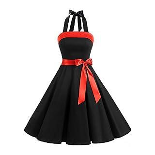 Timormode 10212 Damen 1950er Vintage Abendkleid Elegant Neckholder Retro Cocktailkleid Faltenrock Kleid Partykleid Cocktailkleid L Schwarz