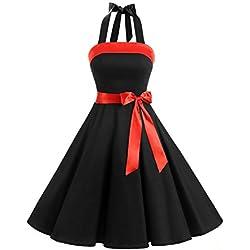 Timormode Vestido fiesta mujer 1950s Scoop Vintage Mujer Rockabilly Dress Retro falda globo vestido de noche largo Mujer faldas verano faldas de tul Vintage vestido 10212Black M