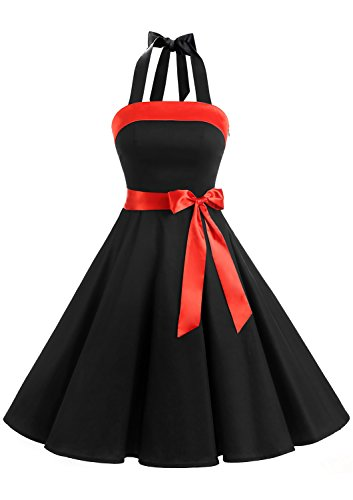 Timormode Vestidos de Fiesta Vintage 50s Elegante Mujer Fiesta Boda Ocacion Formal Negro