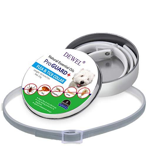 Collari AntiparassitariPulce e Zecche Per Cani&Gatti - 8 Mesi di Protezione Contro le Pulci - Impermeabile e 100% Naturale di Estratto di Olio Essenziale,Lunghezza 63,5 cm (Grigio)