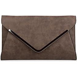 styleBREAKER Envelope Clutch, Abendtasche im Kuvert Design mit Schulterriehmen und Trageschlaufe, Damen 02012047, Farbe:Dunkelbraun