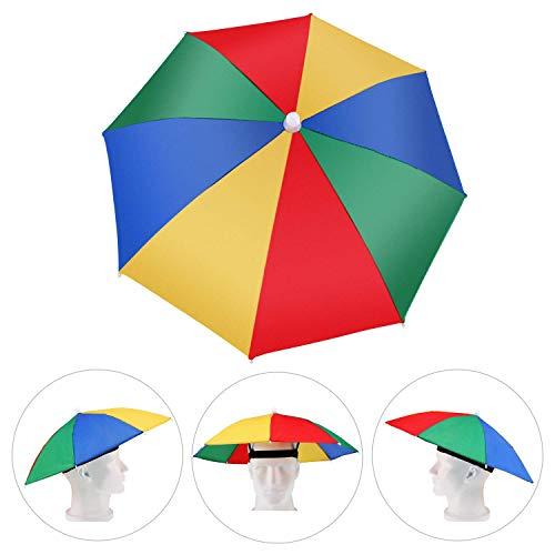 Amaoma Paraguas Cabeza Color Arcoiris para el Sol y la Lluvia Sombrero Paraguas Gorra Visera para Pesca con Diadema Ajustable Gorro de Paraguas para Golf Pesca Acampada Playa