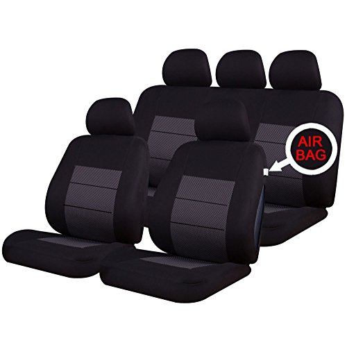 xtremeauto® Autositzbezug-Set, Universell, hochwertig, grau/schwarz (Kompatibilität mit Linkslenker-Fahrzeugen nicht garantiert)
