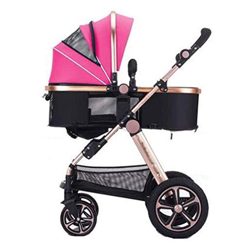 Passeggini per bambini a due vie Passeggini per neonati a quattro giri Pieghevole passeggini per bambini Da 0 a 3 anni con portabicchieri e piatti, può sedersi e sdraiarsi (Colore : Pink)