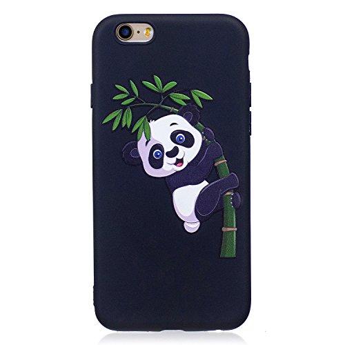 Custodia Cover per iPhone 6S,Silicone Custodia per iPhone 6,Leeook Freddo Nero Bella Rosso Rose Fiore Modello Silicone Bumper Antiurto Protettivo Skin Custodia Coperture Ultra Sottile Flessibile Morbi Bamb¨´ Panda