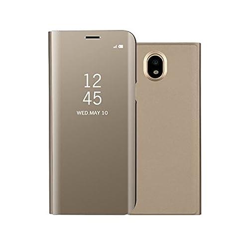 Coque Samsung J7 2017 Phone Etui, Gangxun View Miroir à rabat Smart Case Cover pour SM-J730F, Flip Bookstyle Support Cover Couverture de Mirror Back Coque pour Samsung Galaxy J7 2017 (Or)