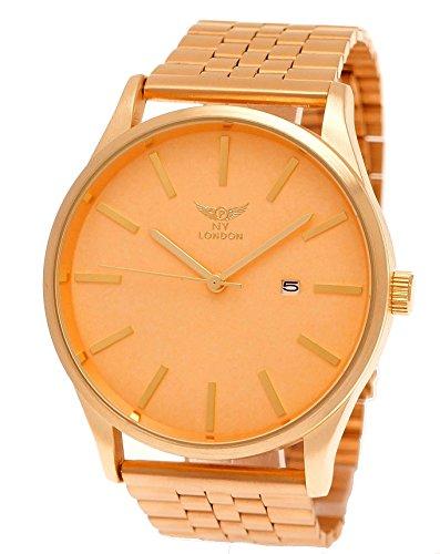 Große NY London Herren-Uhr Business Designer Armband-Uhr Analog Klassisch Quarz-Uhr in Rose-Gold mit Datumsanzeige (Black Rose Gold Uhren Für Männer)