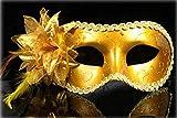 Inception Pro Infinite Maschera - Colore Oro - Carnevale - Halloween - Veneziana - Donna - Decorazioni - Tessuto - Glitter - Donna
