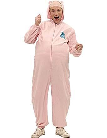 Adult Mens Pink Rabbit Baby Stag Onesie Romper Fancy Dress Costume