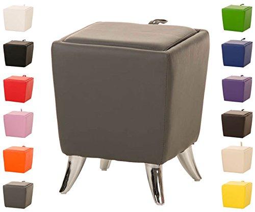 CLP Sitzhocker ROXY mit Stauraum I Quadratischer Hocker mit hochwertiger Polsterung und Kunstlederbezug I Sitztruhe mit abnehmbaren Deckel I In verschiedenen Farben erhältlich Grau
