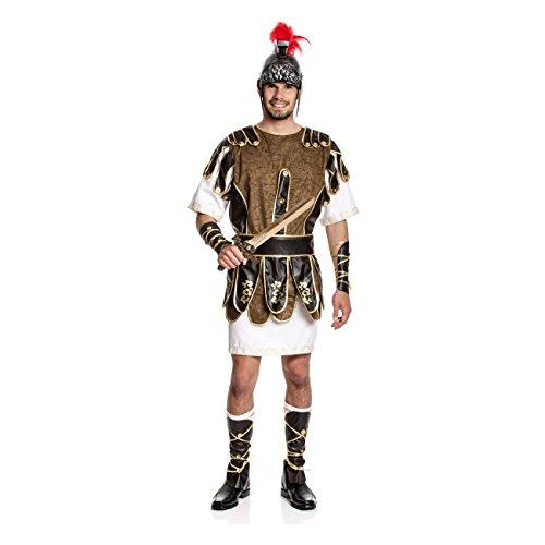 Kostümplanet® Römer-Kostüm für Herren mit Römer-Rüstung, Tunika und Arm-Stulpen und Bein-Stulpen, Größe: 52 / 54, Farbe: braun, weiß, gold, Verkleidung, Outfit für Karneval, Fasching - Herren - Römischen Legionärs Rüstung Kostüm