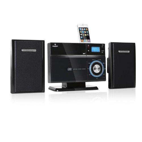 Auna VM-192i iPhone-iPod-Dock CD Stereoanlage mit Bluetooth (CD USB SD MP3, Bluetooth zur kabellosen Audiowiedergabe über iPhone, Android, Tablet, PC)