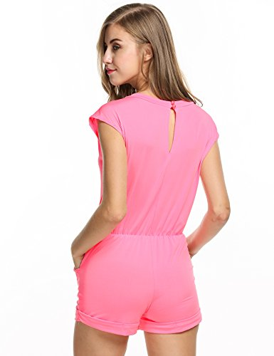 ZEARO Nouveau Style Combinaison Jumpsuit Short Avec Poches Col V Manches Courtes Casual Romper Sport Femmes Été Rose