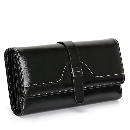 Leather Wallets for Women, RFID Blocking Purses with Multi Card Case Wallet, Genuine Leather Large Capacity Ladies Clutch Bag, Coin Button Ladies Long Purse with Zipper Pocket, Gift for Lady, Friends (Black)