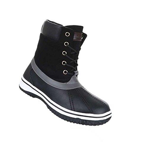 Damen Stiefeletten Schuhe Schnürer Boots Schwarz 36 37 38 39 40 41 Schwarz