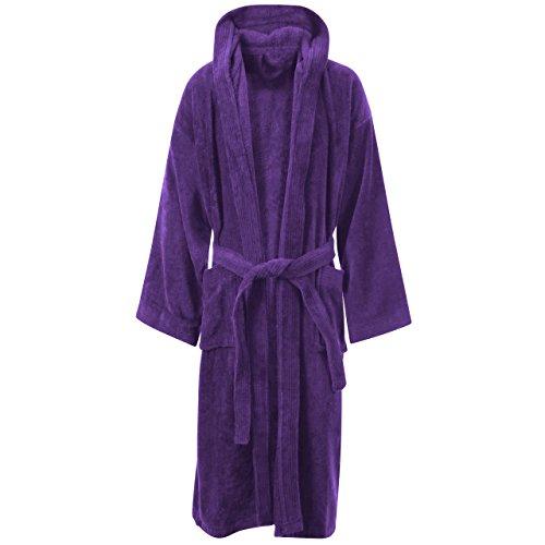 MyShoeStore Frottee-Bademantel aus 100% weicher ägyptischer Baumwolle Purple / Hooded