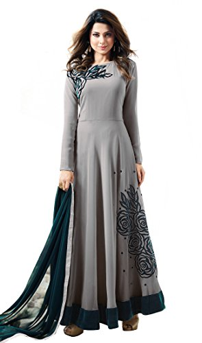 Traditional Goun By OmSai Fashion For Women New Arrival Fancy Anarkali Goun / today new collection / new low price gown / Embroidery Worked Wedding Wear Floor Length Gown (Grey)