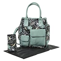 Tippitoes Girl About Town Changing Bag (Turquoise/Black Floral)