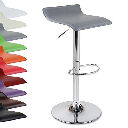 WOLTU BH11gr-1 Design Hocker Barhocker , stufenlose Höhenverstellung , verchromter Stahl , Antirutschgummi , pflegeleichter Kunstleder , gut gepolsterte Sitzfläche , Grau