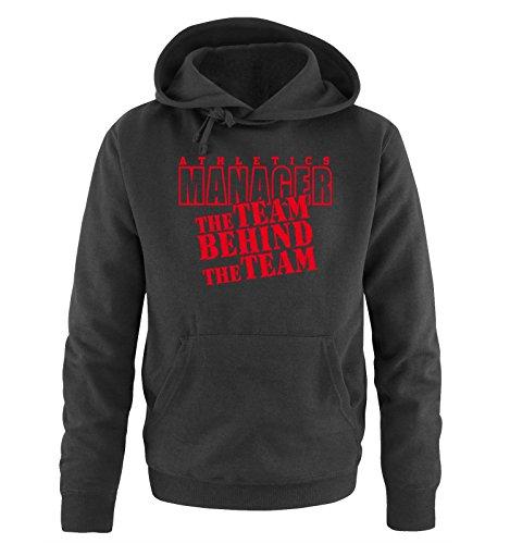 Comedy Shirts - THE TEAM BEHIND THE TEAM - Uomo Hoodie cappuccio sweater - taglia S-XXL different colors nero / rosso