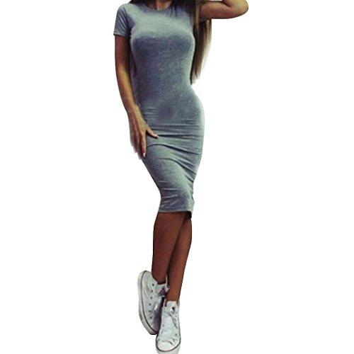 Witsaye Donna Vestito Moda Solido Manica Corta Dimagrimento Stretto Vestiti Abito da Sera Partito Grigio