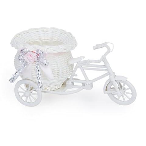 Handmade Tricycle/Bike Shape Flower Basket for Flower Storage/Arrangement (White Pink)
