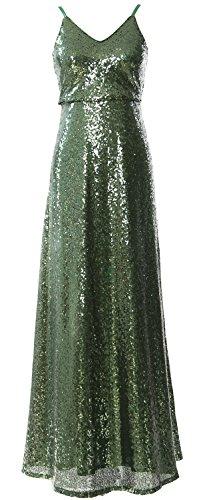 MACloth Women V Neck Sequin Long Bridesmaid Dress Cowl Back Formal Evening Gown Dunkelgrun