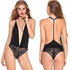 ReooLy Femmes-Nouveaux vêtements de Nuit pour Dames à la Mode, avec Une Suspension Semblable à Une Dentelle et Une pièce Sexy