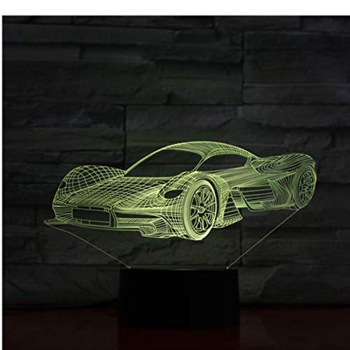 Auto Sportiva Illusione Ottica 7 Colori Cambia Lampada 3D Acrilico con Cavo USB Supporto Batteria Batteria Hobby per Ragazzi con Una Base Colorat