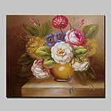 ZZCLSHIPIN Fresko, Mini-Gr??e handgemalte Klassische Blume ?lgem?lde auf Leinwand mit Rahmen f¨¹r Wohnzimmer Wohnkultur, 36