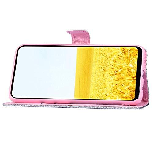 Surakey Coque Galaxy S9 Etui Housse en Cuir PU Portefeuille Livre étui à Rabat,Brillant Paillette Glitter Folio Flip Case Cover Wallet Coque de Protectionn pour Samsung Galaxy S9, Argent