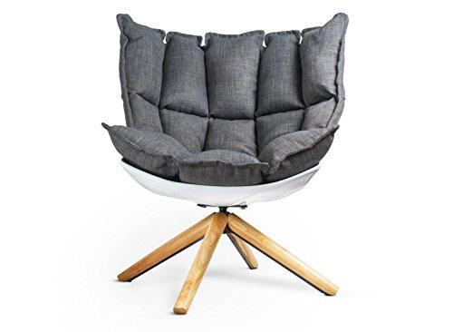 Sessel Drehbar Designer Lounge-Sessel aus Fieberglas Weiche Polsterung Holzfüsse abnehmbares Sitz- und Rückenkissen bequemer Sitzkomfort 360° drehbar in weiß aus Webstoff