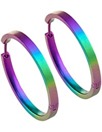 Ti2 Titanium Womens Medium Full Hoop Earrings - Multi-colour 4LbTW3g