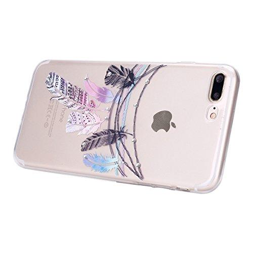 iPhone 7 Plus Hülle,iPhone 7 Plus Silikon Hülle Tasche Handyhülle,SainCat Flamingos Muster Ultra dünne Silikon Hülle Schutzhülle Durchsichtig Hadytasche Stoßfeste TPU Gel Case Bumper Weiche Crystal Ki Diamant-Tribal Feder Campanula