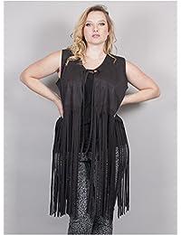 Edmond Boublil - Vêtement Femme Grande Taille Gilet Noir à Franges