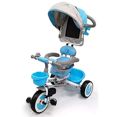 BAKAJI Triciclo Passeggino per Bambini a Pedali e Spinta con Sediolino Girevole a 360 Gradi Imbottito Cinture di Sicurezza Manico Direzionabile e Tettuccio Cappottina Parasole (Azzurro)