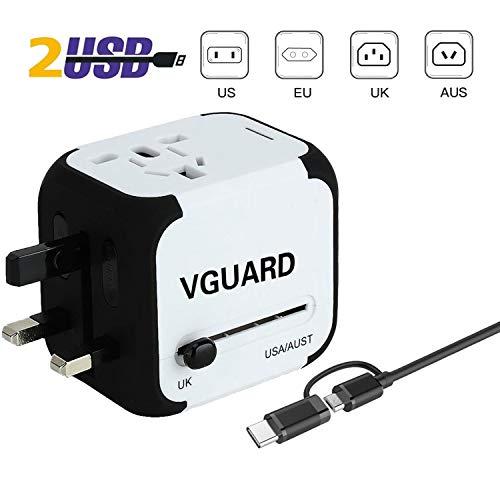 VGUARD Adaptateur de Voyage avec 2 USB Adaptateur Universel Pris de Courant pour UE/US/UK/AUS...