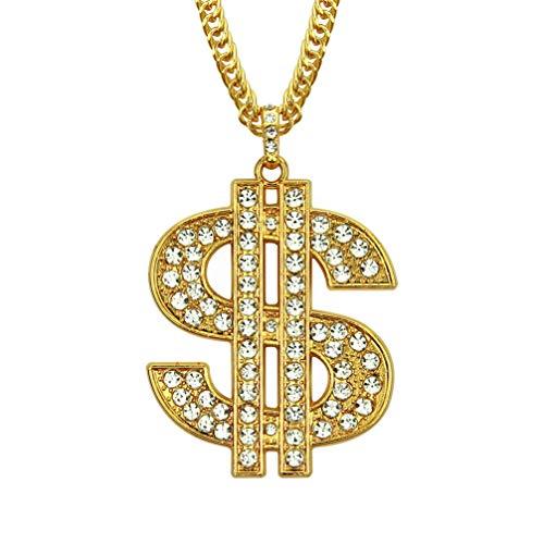 Luxuon KettenHalsketten für Herren, Bling Dollar Zeichen Anhänger 18 Karat vergoldet Hip-Hop Rapper Ice Out Gliederkette 30 '' für Vatertagsgeschenk
