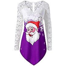 Luckycat De Mujer Punto Jersey De Navidad Santa Reno Navidad Suéter Tallas Grandes