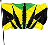 dfjdfjdjf Bandiere 3x5 Ft Polyester Flag Jamaican Flag with Marijuana Leaf - Vivid Color And UV Fade Resistant