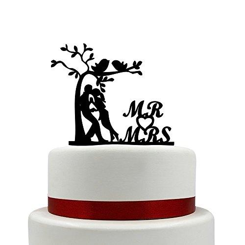 Herr und Frau Hochzeit Kuchen Topper Bich Baum mit Kuss Vögel Kuchen Topper Braut und Bräutigam Kiss Silhouette Kuchen Topper