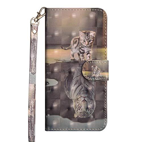 vingarshern Hülle für Alcatel A3 Schutzhülle Etui Klappbares Magnetverschluss Lederhülle Flip Case Handytasche Alcatel A3 Hülle Leder Brieftasche Tasche MEHRWEG(Tiger/Katze)