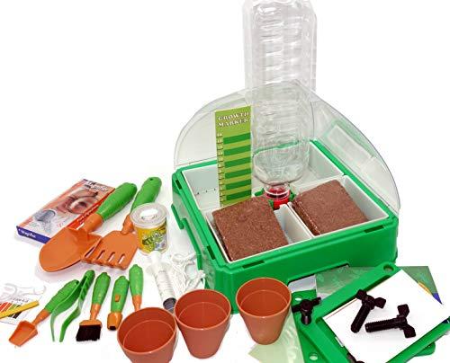MEDUP Kinder experimentieren im Zimmergewächshaus mit Gärtnerset Mini Gewächshaus Kräuterhaus für Kinder